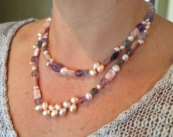 Double strand pink and lilac handmade pearl necklace