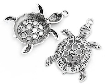 Pendants turtles aged silver metal 39x23mm batch of: 2/4/6/8/10/12 units. BAA201627b