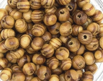 50 beads in round Brown natural pine wood 6 mm PB201609