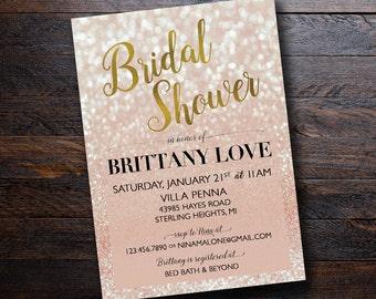 Rose Gold Sparkle Ombre Bridal Shower Invitation, Gold Foil, Wedding, Shower, Bridal, Printable 5x7