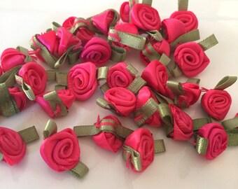 20, hot pink ribbon roses, satin ribbon roses, hot pink satin roses, sew on flowers, small ribbon roses, pink ribbon flowers, flower roses