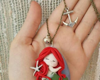 Fimo polymer clay necklace pendant Ariel disney