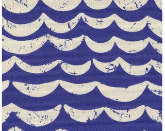 Half Moon Stripe in Blue - Kokka canvas fabric