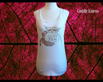 Cat Tank Top, Women's Cat Clothing, Girl's Yoga Clothes, Anime Cat Shirt