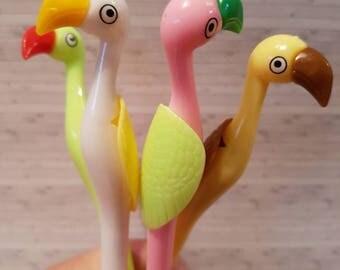 Neon Flamingo Gel Pen Black Ink