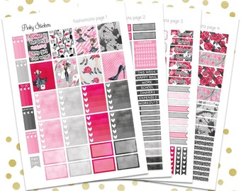 Fashionista Weekly Kit for Erin Condren   Printable   Includes Blackout Files for Easy Cutlines