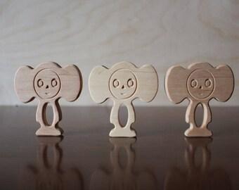Wooden Cheburashka, wooden toy
