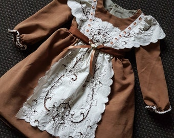 Bring back the memorys with this delightful  dress and mock pinafore size 4