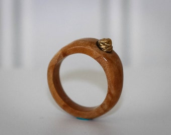 Exotic wood and brass ring
