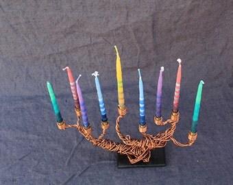 Hanukkah Menorah (Hanukkiah), Copper, Brass and Wood