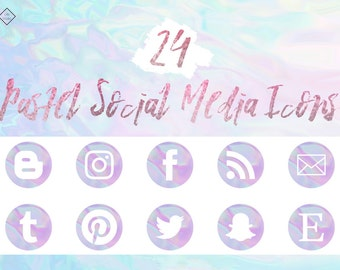 Pastel Social Media Icons - Purple Blue Icon, Blog, Blogger, Blogging, Website Buttons, Web, Digital Button, Abstract, Modern, Instagram