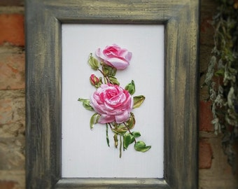 A bouquet of roses. Embroidery ribbons. Handmade.