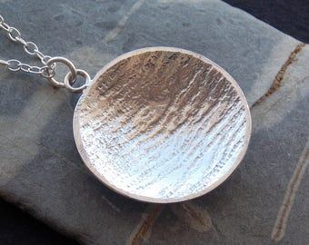 round pendant, silver jewellery, Silver Necklace, round necklace, textured silver, oxidised silver, circle pendant, circle necklace