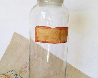 Apothecary Bottle – Glass - c. 1900 – Mouth-Blown – Original Paper Label