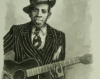 Robert Johnson drawing - Blues collectable - pen and ink print - signed art print