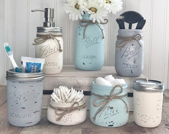 Mason Jar Bathroom set, mason jar bathroom organizer, painted mason jars, farmhouse decor
