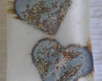 Pendant. Two hearts fused glass pendant.