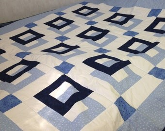 "Q005 ... Blue Squares Linked .... 65"" x 58"""
