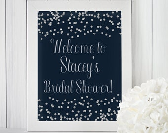 Bridal Shower Welcome Sign / Navy and Silver Bridal Shower Decor / Welcome to Bridal Shower Sign / Printable Bridal Shower Sign / NSSh