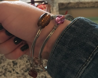 Stacked beaded bangles (set of 2)