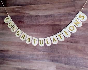 Small CONGRATULATIONS Banner - Desert Table Banner - Custom Banner - Graduation, Birthday, Fancy Party, Wedding, Work, Accomplishment