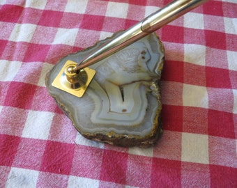 Vintage Geode Pen Holder & original pen w/ free ship