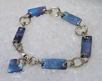 Titanium silver bracelet, bracelet for men or unisex oxidized silver.
