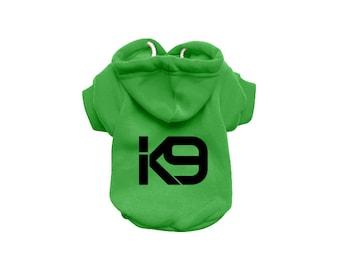 Dog Sweatshirt Hoodie - K9 Dog Sweater - Dog Jumper - Dog Clothing - Green Dog Hoody - Dog Hoodie