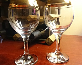 Wine glasses made for two; Gold trimmed stemware; vintage barware; special occasion glassware