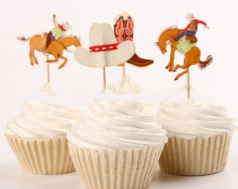 Rodeo and Cowboys, Cake, Cupcake Toppers (12)