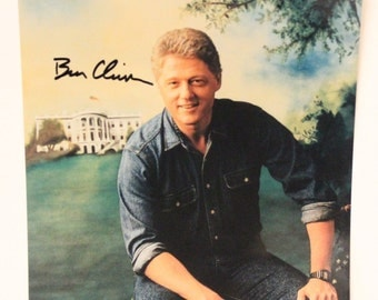 Bill Clinton Signed Autograph 8x10 Color Photo Print