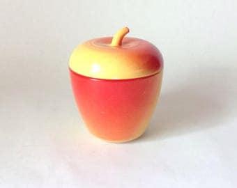 Vintage Hazel Atlas Red and Yellow Apple Jam Jar