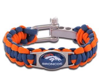 Denver Broncos Paracord Survival Bracelet with Adjustable Shackle