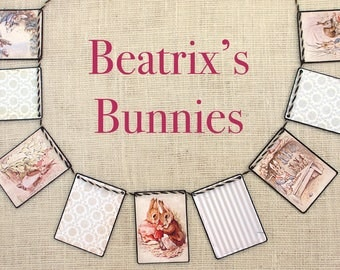 Beatrix's Bunnies Garland--Easter decor, Nursery decor, Baby Shower gift, garlands,  banners, bunting, wall decor, baby gift, Beatrix Potter
