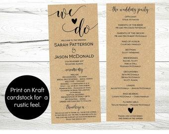 Printable Wedding Program Template, Instant Download Editable Ceremony Order of Service Program PDF, WLP228