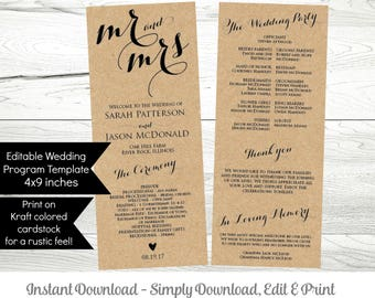 Printable Wedding Program Template, Rustic Ceremony Editable Mr and Mrs Program, Instant Download, WLP224