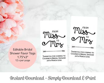 Bridal Shower Favor Tag Template, Printable From Miss to Mrs Gift Tag template, Instant Download, WLP310