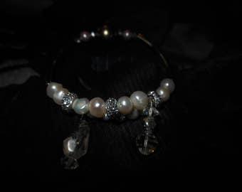Bracelet, Rice pearls, Pearls and Czech glass