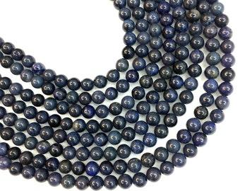 Dumortierite Beads Round 8mm 10mm 12mm Dark Blue Dumortierite Beads Blue Gemstone Beads Navy Blue Mala Beads Semi Precious stone 4mm 6mm