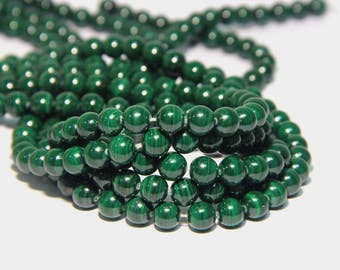 Natural Malachite Beads A quality 8mm Good Quality Genuine Malachite Beads Green Gemstone Beads Green Mala Beads Green Semi Precious Beads