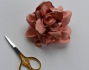Pale Pink Satin Flower Pin - Flower Broach - handmade Broach
