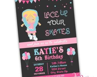 Ice Skating Invitation, Birthday Invitation, Girl Birthday Invitation, Printable Invitation