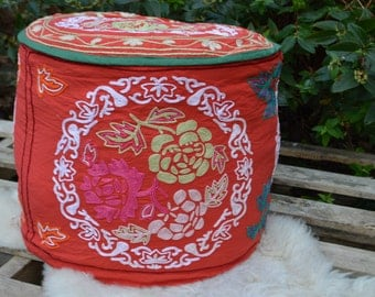 Red foot stool, foot rest, hand embroidery ottoman, Suzani pouf, floral pattern seat, OT0030