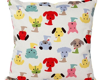 Red & Pink Dogs Throw Pillow