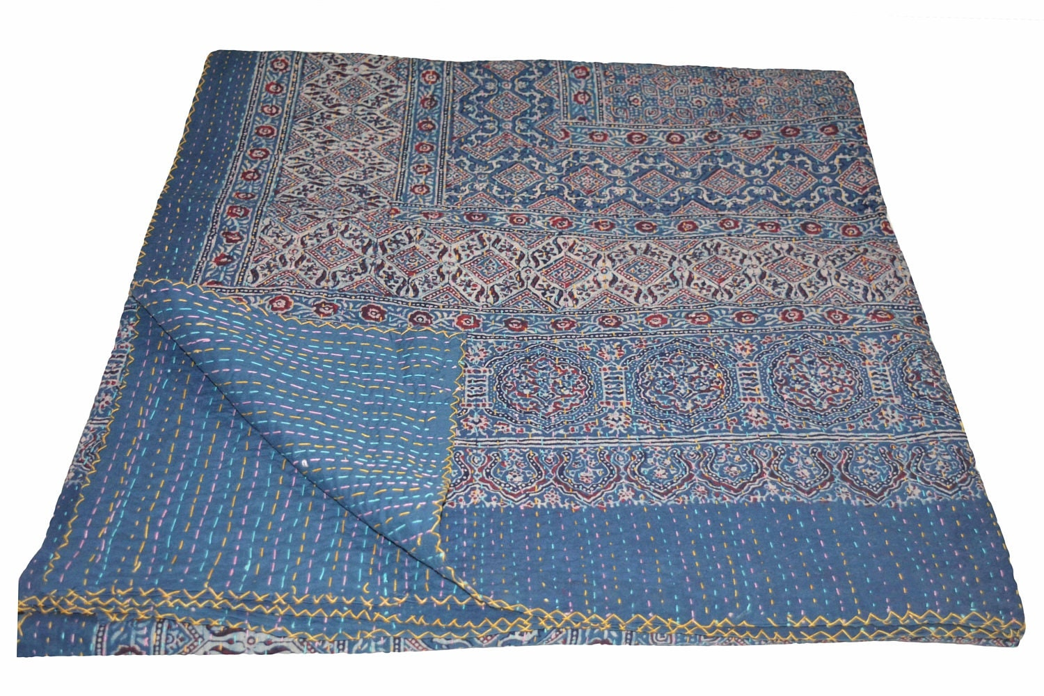 Baby bed quilt size - Vintage Indian Kantha Quilt Handmade Ajrakh Hand Block Print 100 Cotton Bed Cover Bedspread Blanket Queen Size Twin Size King Size