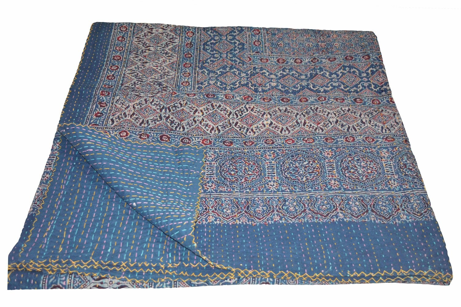 Crib size quilts for sale - Vintage Indian Kantha Quilt Handmade Ajrakh Hand Block Print 100 Cotton Bed Cover Bedspread Blanket Queen Size Twin Size King Size
