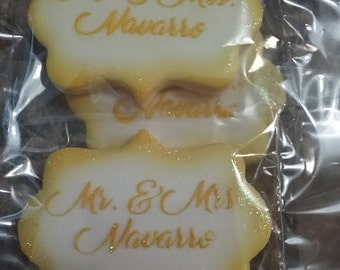 Customized Wedding Cookies/Mr & Mrs/Party Favors