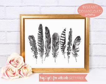 Printable Wall Art, Feather Wall Art, Wall Art Prints, Boho Print, Boho Wall Art, Printable, Feather Print, Modern Art, Instant Download