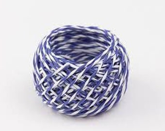 Blue Paper Twine, Gift wrapping, Paper crafting string, Holiday wrapping, Colored Paper cord, Gift packaging
