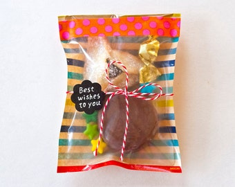 Mini gift bags, Paper bags, Holiday Treat bags, Small favor bags, Party bags, Gift wrapping, Stripes bags > Set of 15